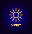 sunny neon label vector image