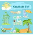 Sunny vocaton beach set on a blue background vector image vector image
