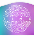 time concept in circle with thin line icons vector image vector image