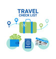 travel check list icons template banner vacancy vector image vector image