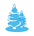 trees pines with snow vector image vector image