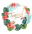 wreath design with tropical theme toucan vector image vector image