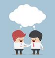 Businessmen shaking hands and blank speech vector image