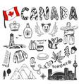 sketch hand drawn collection of canada symbols vector image