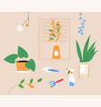 apartment with potted houseplant and tools for vector image