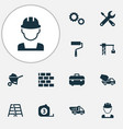 architecture icons set with tower crane toolbox vector image