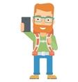 Backpckaer making selfie vector image vector image
