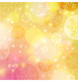 Bright yellow background with bokeh and snowflakes vector image