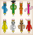 cartoon pencils vector image vector image