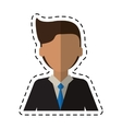 cartoon young man with suit tie employee cutting vector image