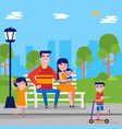 caucasian white family with children in the park vector image vector image