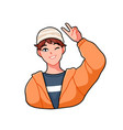 cheerful anime boy wink and giving a v sign happy vector image vector image