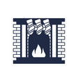 christmas fireplace isolated icon vector image vector image