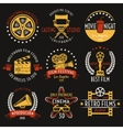 Cinema Retro Style Emblems Set vector image vector image