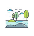 colorful line art natural landscape picturesque vector image