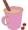 cup of coffee and sweets vector image vector image