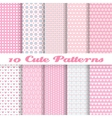Cute different seamless patterns tiling Pink color vector image vector image