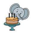 cute little elephant character vector image