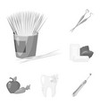 Dental care monochrome icons in set collection for vector image