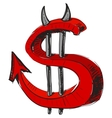 Devil money dollar icon vector image