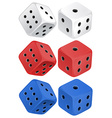 Dice set on white vector image vector image
