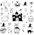 Doodle Halloween castle and ornament vector image vector image