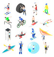 extreme sports isometric icons vector image vector image