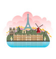 france travel destinations icon set vector image