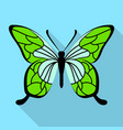 green butterfly icon flat style vector image vector image