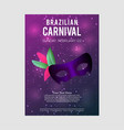 happy brazilian carnival day purple carnival vector image