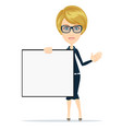 happy smiling young business woman holding blank vector image