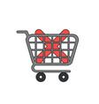 icon concept x mark inside shopping cart vector image vector image
