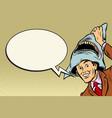 joyful man carnival shark costume vector image vector image