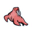 long-tusked walrus mascot vector image