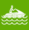 man on jet ski rides icon green vector image vector image