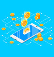 monetary business with bitcoin vector image vector image