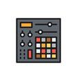 music console audio mixer flat color line icon vector image