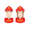 objects firefighters avatar set vector image