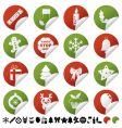 red and green christmas stickers vector image vector image