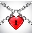 Red Heart Lock and Chains vector image vector image