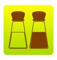 salt and pepper sign brown icon at green vector image