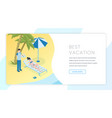 sand beach recreation landing page template vector image vector image