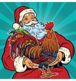 santa claus holds in his hands cock vector image vector image