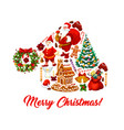 santa hat with christmas symbols greeting card vector image vector image