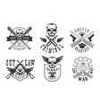 set emblems related to criminal theme vector image