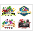 Set of casino with gamling elements ornate frame vector image