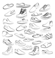 set of men shoes painted lines in vector image