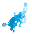 set women playing tennis vector image vector image