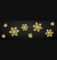 shining gold snowflakes on black background vector image vector image
