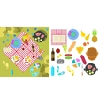 Summer picnic nature landscape with blanket and vector image